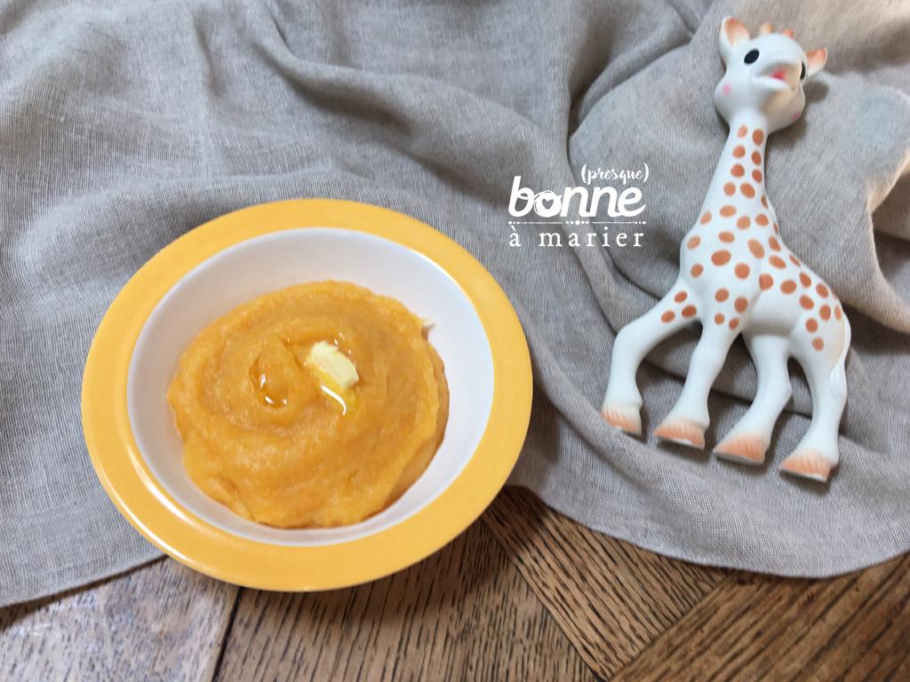 Purée de carottes, poireaux, pommes de terre pour bébé dès 5 mois