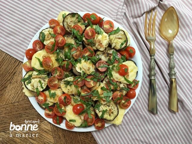 Salades d'aubergines rôties et mozzarella panée