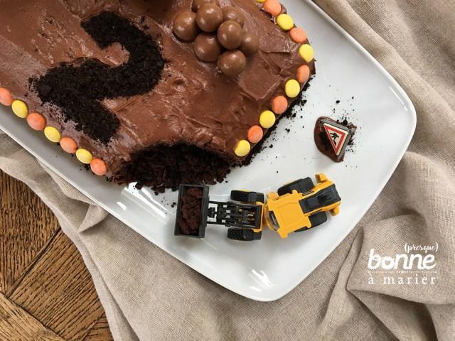 Construction cake au cacao
