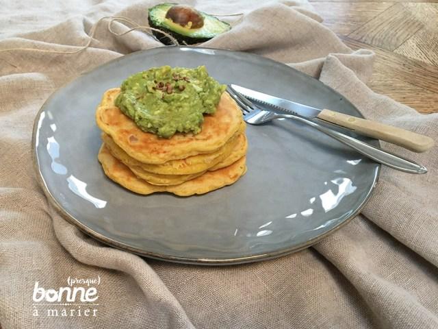 Pancakes aux carottes et guacamole maison