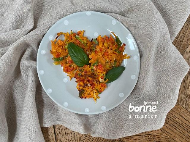Galettes aux carottes et poivron rouge