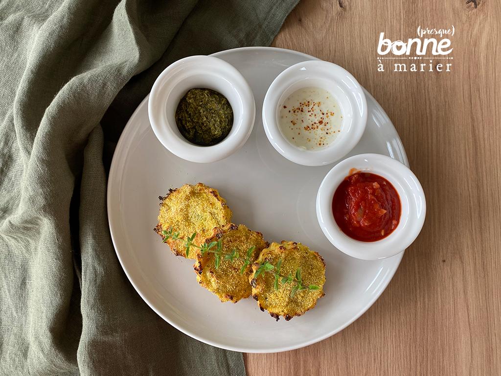 Croquettes de courgettes et polenta et leurs trois trempettes