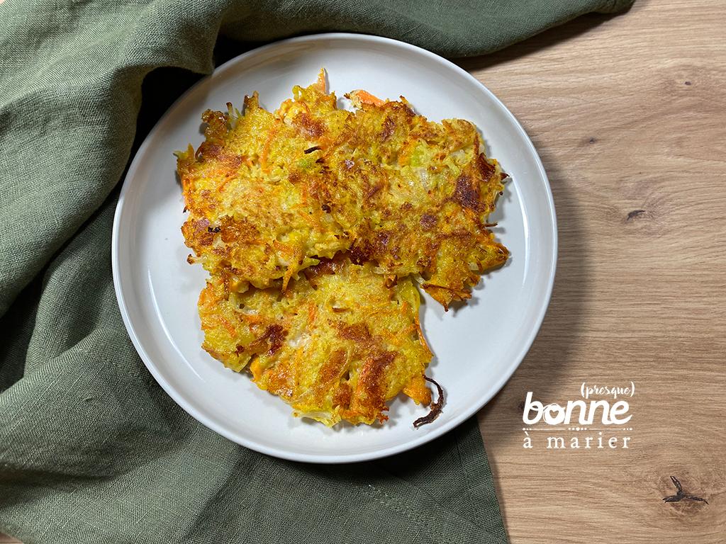 Galettes aux carottes, courgettes et pommes de terre