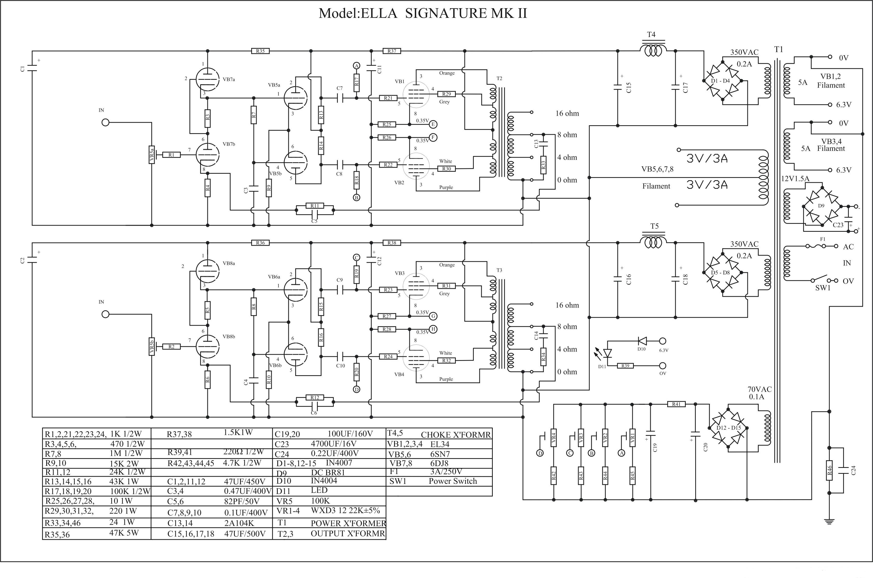 Ella Push Pull El34 Kt88 Amplifier Schematic Diy Hifi Supply