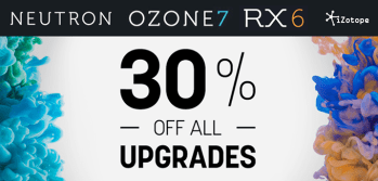 iZotope launch upgrade sale with 30% off latest versions and Advanced options