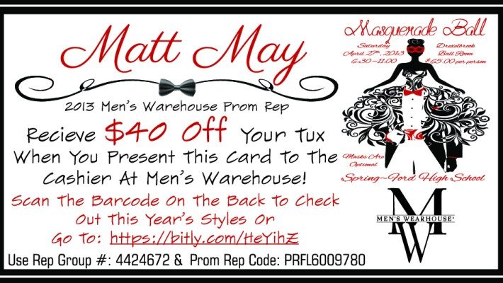 Men's Warehouse Prom Rep Card 2013