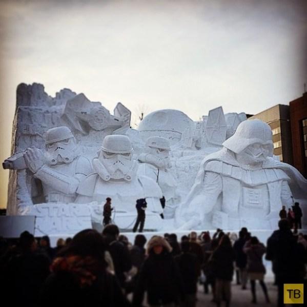 Снежная скульптура Дарта Вейдера и имперских штурмовиков в ...