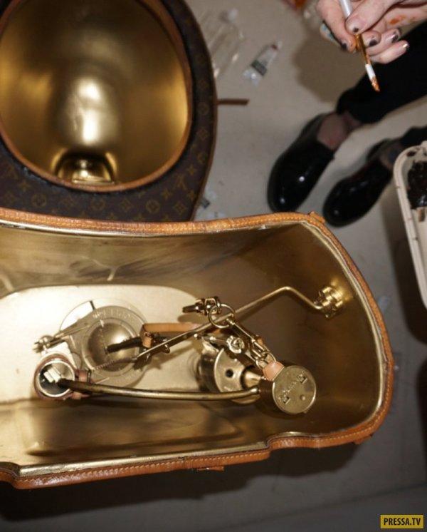 """Дизайнерский унитаз из 24 сумочек и чемодана """"Луи Виттон ..."""