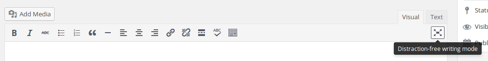 WordPress Distraction free writing Button Screenshot.