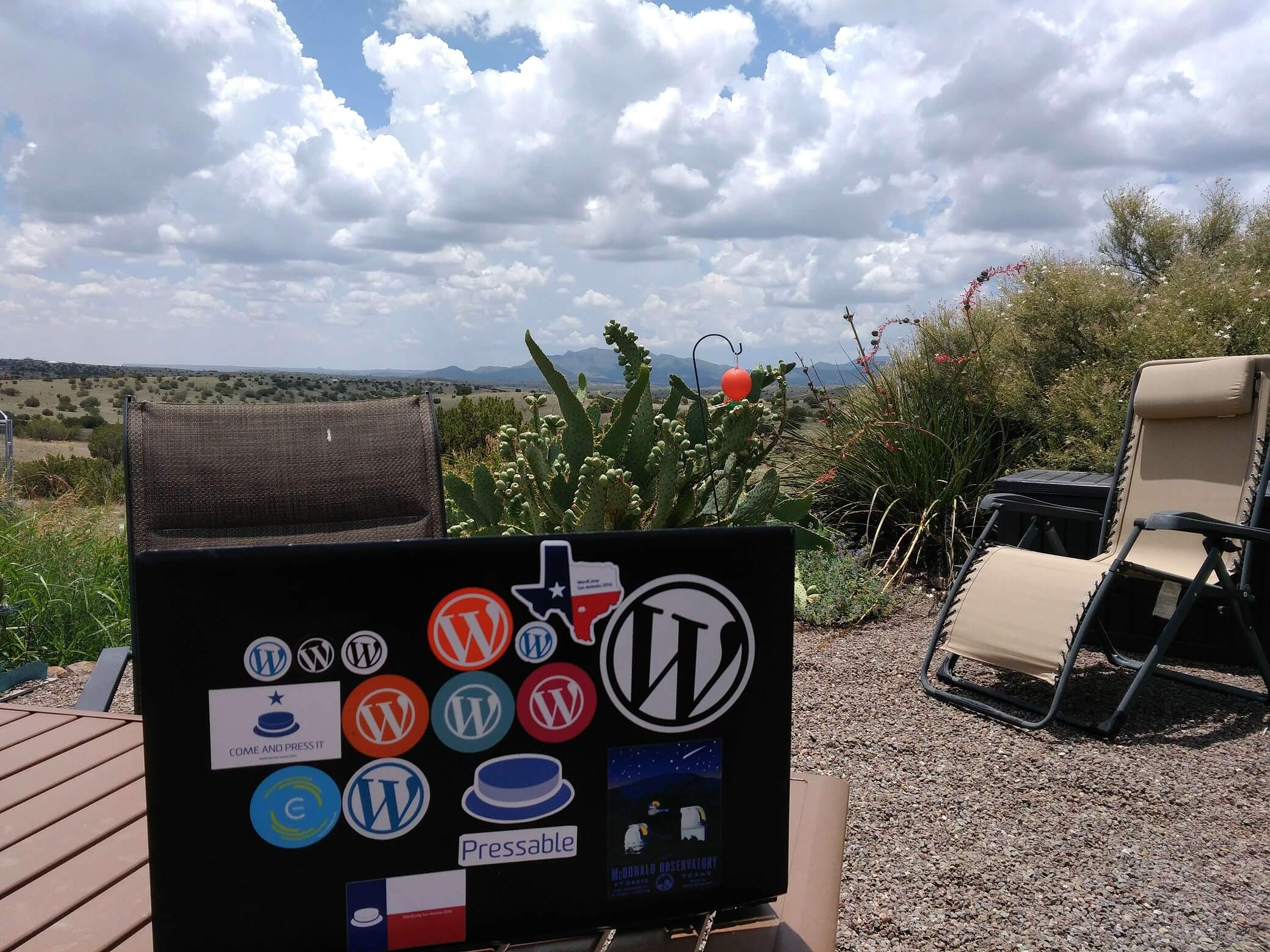 Jeff Mulholland's remote workstation in West Texas.