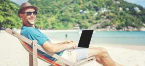 A man enjoying one of the top places to live and work remotely.