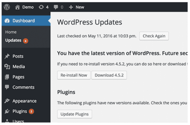 Keeping your site updated can greatly improve WordPress site performance.