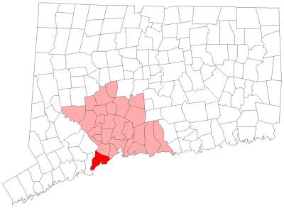 Map showing Milford and neighboring New Haven County towns