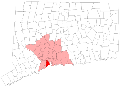Location of West Haven in New Haven County, Connecticut