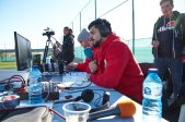 FCA überträgt live; Sprecher Jakob Kunz; Testspiel FC Augsburg - Royal Antwerpen; FC Augsburg, Trainingslager Alicante 2019, La Finca Golf Resort, Trainingsgelände;