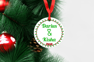 couples ornament with holly border