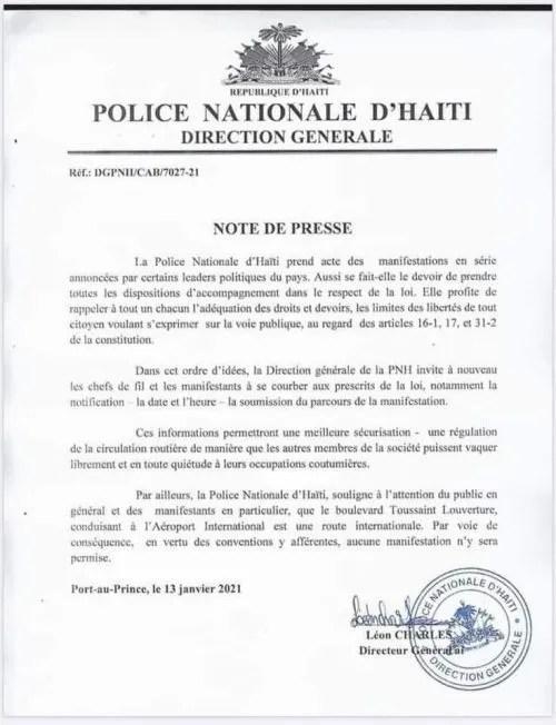 """Haïti: """"Aucune manifestation ne sera permise sur le Boulevard Toussaint Louverture"""" a annoncé le DG de la PNH."""
