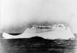 An iceberg, presumed to be the one that was struck by the RMS Titanic, is pictured from the deck of the cable ship Mackay-Bennett on April 15, 1912.