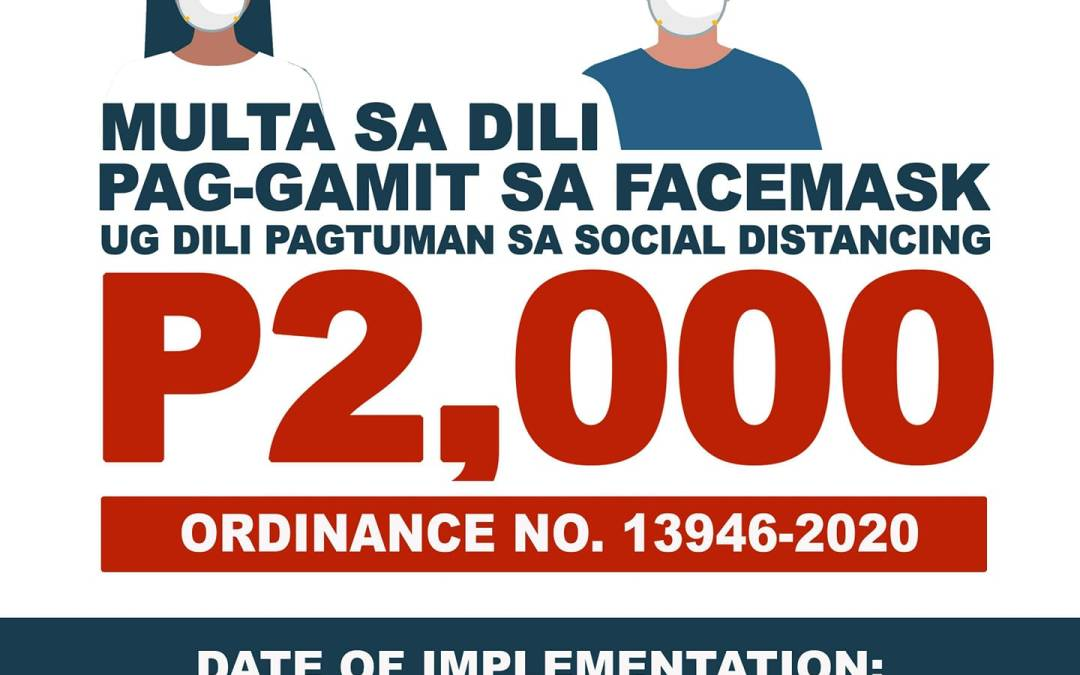 Cagayan de Oro City to fine non wearing of face mask, not observing social distancing in public