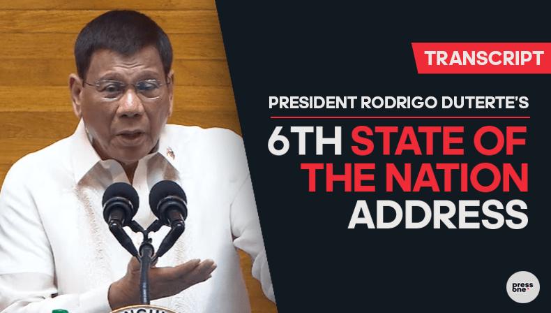 Full Text: President Rodrigo Duterte's last State of the Nation Address