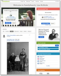 FamilySearch's new user dashboard personalizes activity and new content in a fun, interesting way.