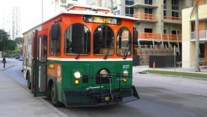 Get where you need to go in Brickell by riding the City of Miami trolley.