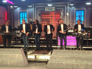 "Chiquito Team Band performs hit ""La Llamada de mi Ex"" during a live television show in Miami. (Daysi Calavia-Robertson/ Press Pass Latino)."