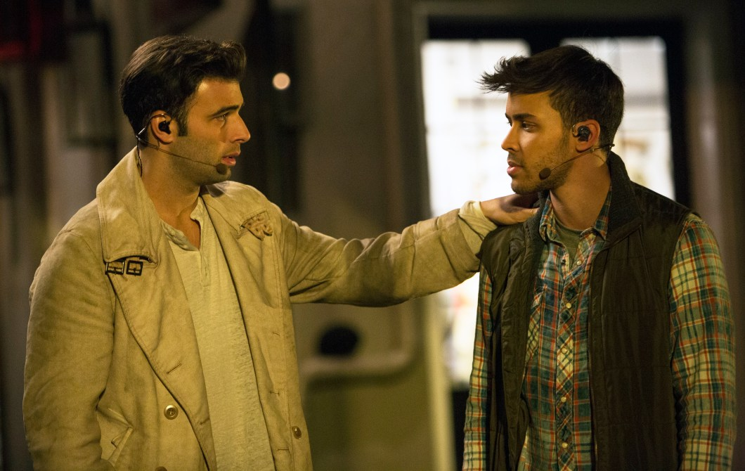 Jencarlos Canela and Prince Royce practice a scene for Fox's The Passion, a musical which will air live on the network.