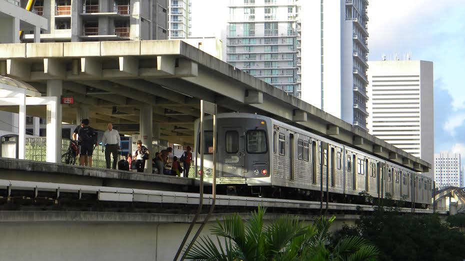 The metrorail is a cheap method of transportation in Brickell.