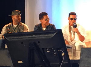 Daddy Yankee at the 2016 Latin Billboards Conference with new talent Bryago.