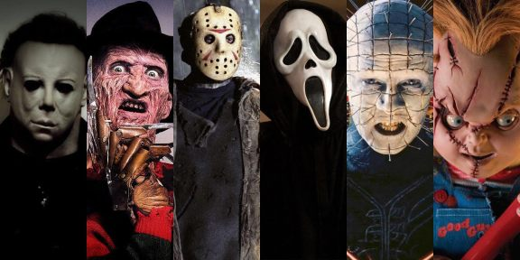 (L to R): Michael Myers, Freddy Krueger, Jason Voorhees, Ghostface, Pinhead, and Chucky. These iconic slasher-horror characters were persistently revisited in many sequels and remakes, although they were mostly received with criticism and poor box office performance. Many of them achieved cult status, thanks to their loyal fans.
