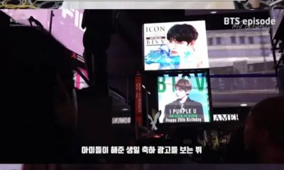 BTS V was Happy with the Birthday Billboard in the Middle of New York