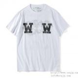1597422 thum 1 - OFF-WHITE 新作夏 ダブルW オフホワイト 通販 メンズ 半袖Tシャツ クルーネック コットン プリント カジュアル レディース ブラック ホワイト