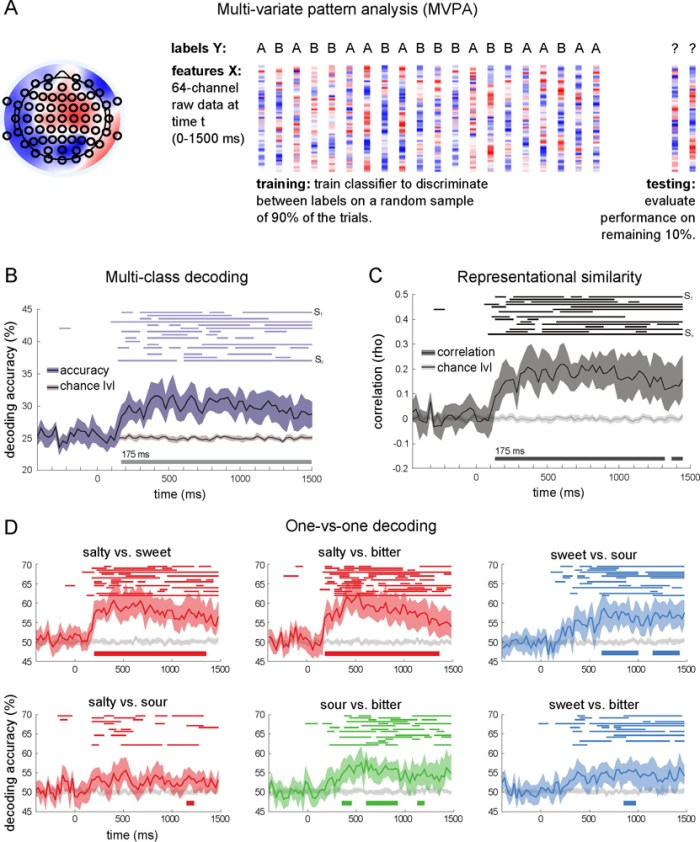 Decoding subjective taste categories using multivariate pattern analysis of single-trial EEG - Figure 2: MVPA Yielded Significant Decoding Starting at 175 ms and a Close Relation to the Pattern of Errors of the Participants (A) For a given participant and time point, a random sample of 90% of the trials was used to train a classifier to discriminate between brain responses (EEG scalp topography) associated with two (one-versus-one classification) or four (multi-class discrimination) tastants. Classification performance was then evaluated by using the remaining 10% of the trials. The entire procedure was repeated for 120 cross-validations. (B) Multi-class decoding: classifiers were trained to provide at each time point an answer to the following question: ''Which taste is this?'' The black curve indicates decoding accuracy averaged across participants (shaded area: bootstrapped 95% confidence interval; light gray curve: average chance level). The thin (top) and thick (bottom) horizontal lines correspond to the period of significant decoding for individual participants and at the group level, respectively. (C) Representational similarity analysis: behavioral confusion matrices were correlated with neural confusion matrices at each time point to estimate the similarity between taste representations in perceptual space and in neuronal space. Conventions are as in (B). (D) One-versus-one decoding: classifiers were trained to provide at each time point an answer to the following question: ''Is this taste X or taste Y?'' Conventions are as in (B). (Reproduced with permission from (Crouzet et al., 2015))
