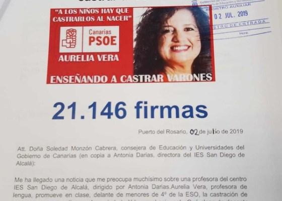 """Entrega de firmas en Fuerteventura contra maestra que promueve """"castrar a los niños"""""""