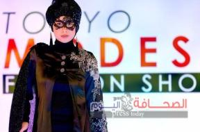 A model presents a creation by designer Lynn Siregar from her brand Weddingku Gallery during Tokyo Modest Fashion Show, Muslim fashion show, at Halal Expo Japan in Tokyo