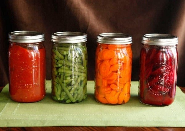 Jars with food.
