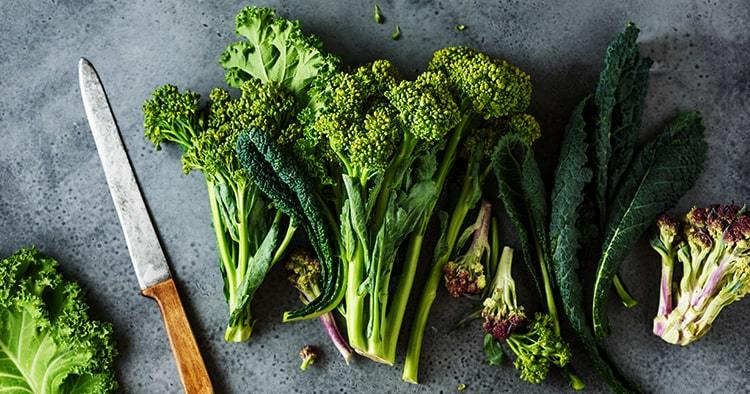 Fresh picked greens from the garden, collards, kale, broccoli. Clean food. Healthy product.