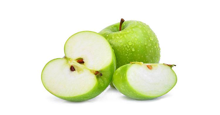 whole and half with slice green apple or granny smith apple with drop of water isloated on white background