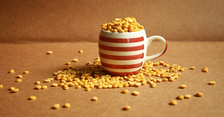 Organic lentils or chana dal in a bowl, yellow dal, Pulses, Uncooked pulses