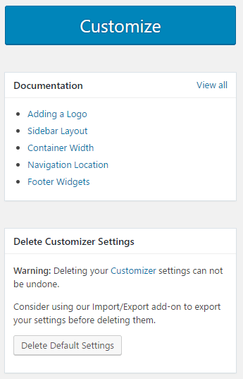 The Generate Press options page has links to the documentation page
