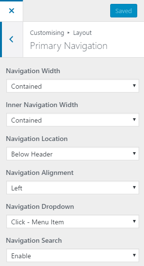 Primary navigation settings in Generate Press Free theme