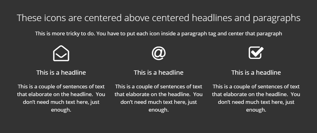 Large icons centered above headlines
