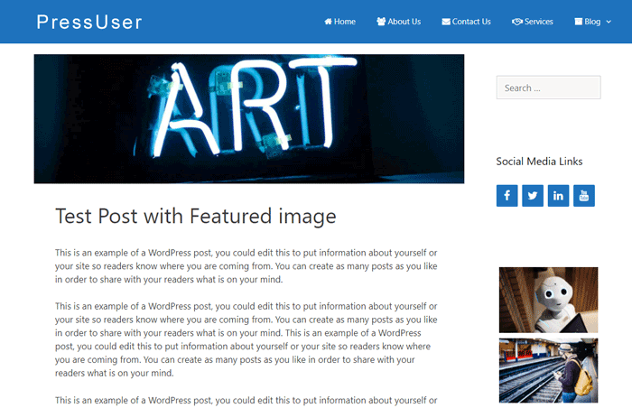 The featured image located above content area