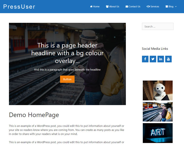 This is a contained page header located inside the content area