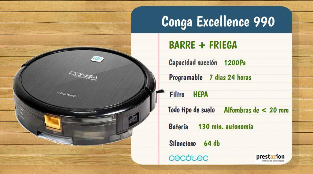 Robot aspirador Conga Excellence 990 de Cecotec-caracteristicas