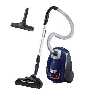 AEG VX8 Silence - Aspiradora silenciosa con bolsa y cepillo Flow Motion, color azul profundo [Clase de eficiencia energética A+]
