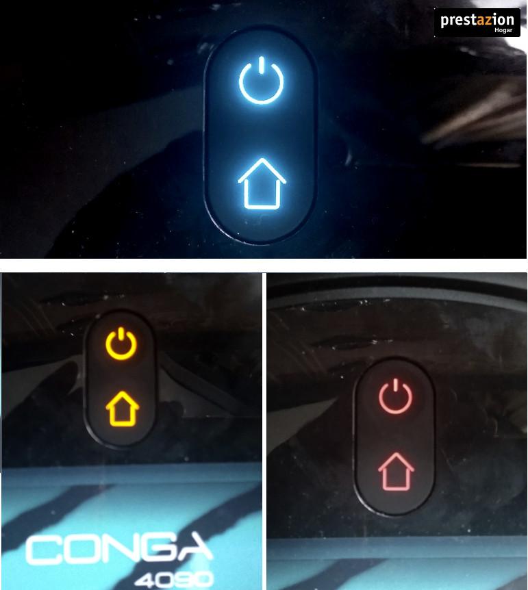Botones de encendido y vuelta a la base de carga. Conga 4090