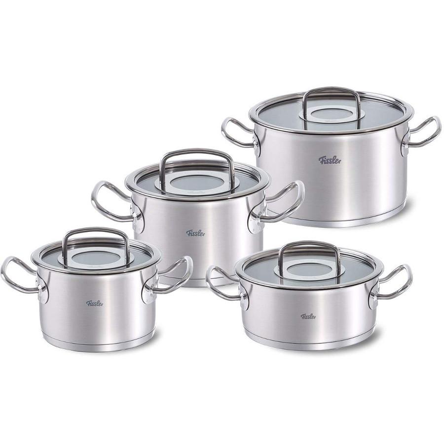 bateria de cocina fissler de 4 piezas en acero inox 18/10
