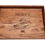 Personalized Bourbon Bar Serving Tray Acacia Wood Tray